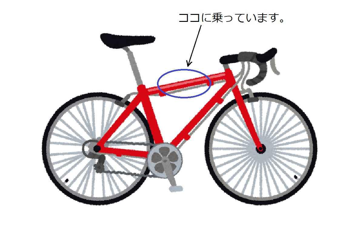 自転車のフレームに乗る